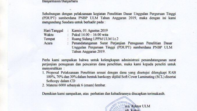 Penandatanganan Surat Perjanjian Penugasan Penelitian Pdupt